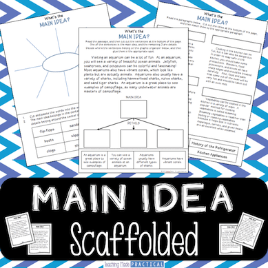 Teaching Main Idea - scaffolded