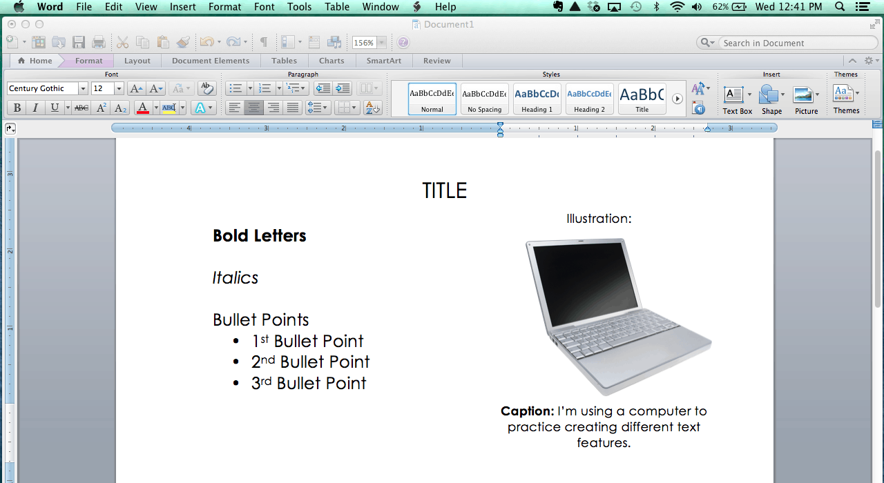 Have students practice creating different text features using Word