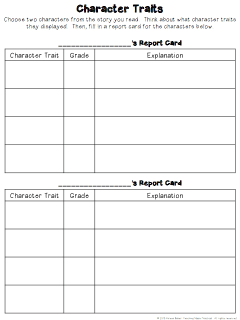 Free Character Traits Report Card graphic organizer.  Use when teaching character traits to 3rd grade, 4th grade, or 5th grade students.