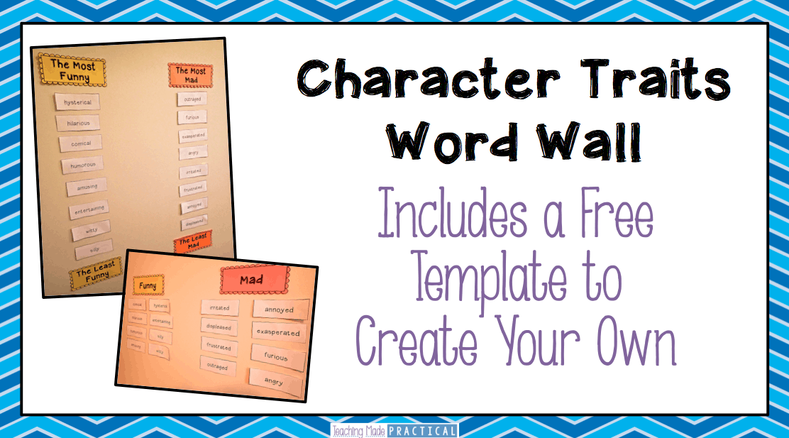 Character traits word wall teaching made practical for Word wall template printable