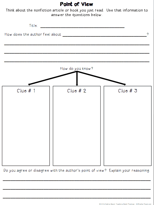 Nonfiction Point of View Graphic Organizer: Have students think ...