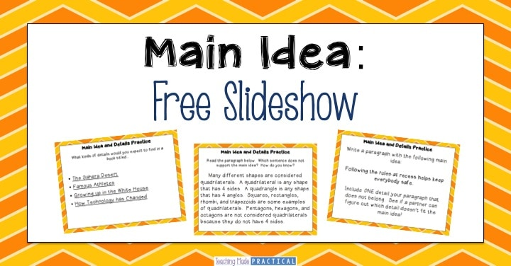 Free Main Idea Slideshow for 3rd grade, 4th grade, or 5th grade students.