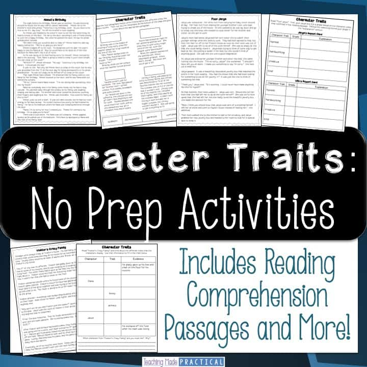 Character Traits Reading and Writing Activities: No Prep
