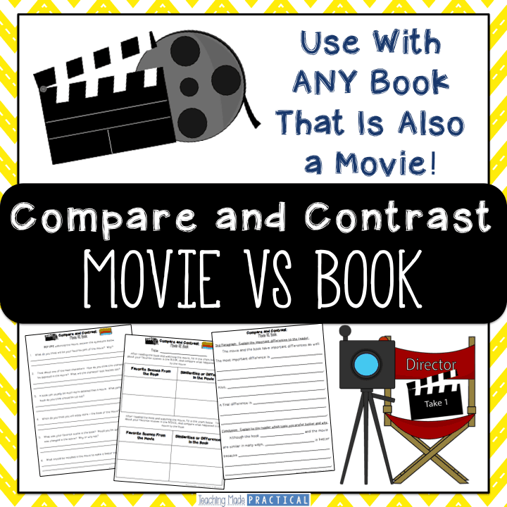 Activities to compare and contrast a movie with its book for 3rd grade, 4th grade, and 5th grade.