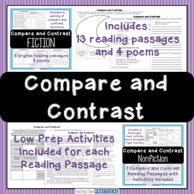 Comparing and Contrasting reading passages and poems with activities.  Great for 3rd grade or 4th grade students.