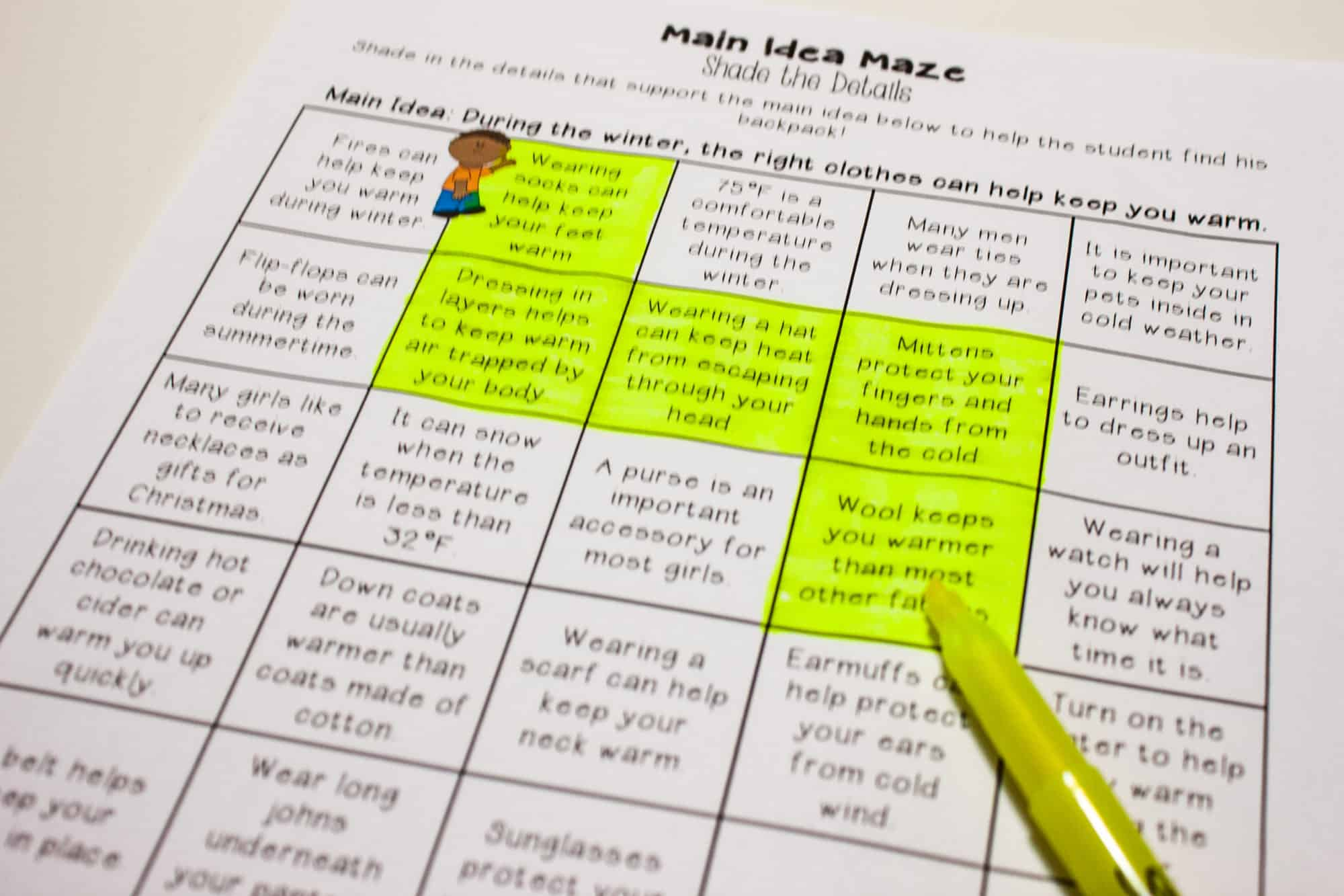 worksheet Supporting Details Worksheet main idea centers for upper elementary teaching made practical 3rd grade and supporting details center students are given a idea