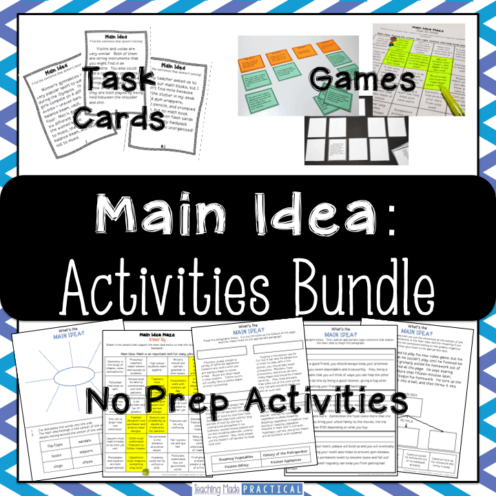 Main Idea and Details Activities Bundle - task cards, no prep activities, games and centers, and more