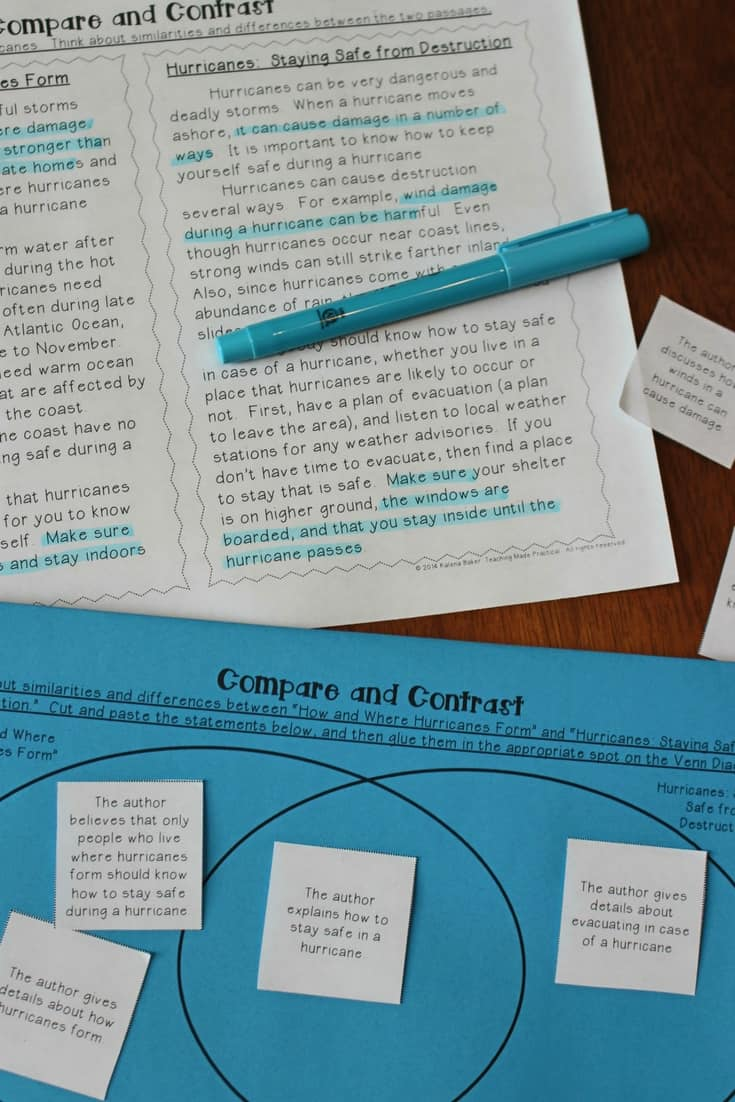 Free compare and contrast printable with a scaffolded Venn Diagram for 3rd grade, 4th grade, and 5th grade.
