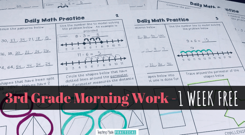 photo regarding 3rd Grade Morning Work Printable referred to as Absolutely free 3rd Quality Math Early morning Function - 5 Times - Instruction Manufactured